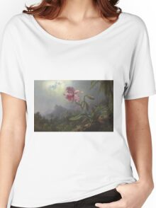 Martin Johnson Heade - Two Hummingbirds With An Orchid 1875. Garden landscape: garden view, trees and flowers, blossom,  lotus blossom, botanical park, orchid, wonderful flowers Women's Relaxed Fit T-Shirt