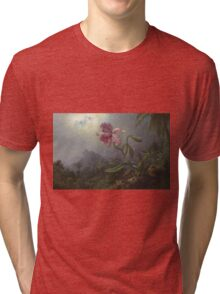 Martin Johnson Heade - Two Hummingbirds With An Orchid 1875. Garden landscape: garden view, trees and flowers, blossom,  lotus blossom, botanical park, orchid, wonderful flowers Tri-blend T-Shirt