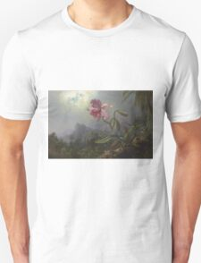 Martin Johnson Heade - Two Hummingbirds With An Orchid 1875. Garden landscape: garden view, trees and flowers, blossom,  lotus blossom, botanical park, orchid, wonderful flowers Unisex T-Shirt