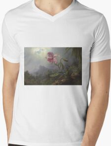 Martin Johnson Heade - Two Hummingbirds With An Orchid 1875. Garden landscape: garden view, trees and flowers, blossom,  lotus blossom, botanical park, orchid, wonderful flowers Mens V-Neck T-Shirt
