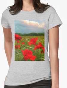 I Love Poppies  Womens Fitted T-Shirt