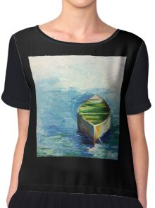 Lonely Boat. Boat painting Chiffon Top