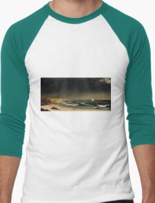 Martin Johnson Heade - Approaching Storm Beach Near Newport 1861. Sea landscape: sea view,  Storm, thunderstorm, sailing boat, severe, waves and beach, rain, seascape, sun clouds Men's Baseball ¾ T-Shirt