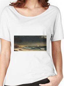 Martin Johnson Heade - Approaching Storm Beach Near Newport 1861. Sea landscape: sea view,  Storm, thunderstorm, sailing boat, severe, waves and beach, rain, seascape, sun clouds Women's Relaxed Fit T-Shirt