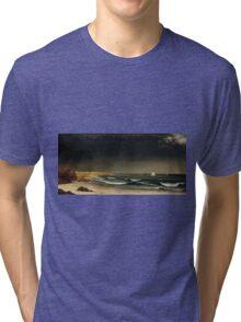 Martin Johnson Heade - Approaching Storm Beach Near Newport 1861. Sea landscape: sea view,  Storm, thunderstorm, sailing boat, severe, waves and beach, rain, seascape, sun clouds Tri-blend T-Shirt