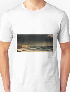 Martin Johnson Heade - Approaching Storm Beach Near Newport 1861. Sea landscape: sea view,  Storm, thunderstorm, sailing boat, severe, waves and beach, rain, seascape, sun clouds Unisex T-Shirt