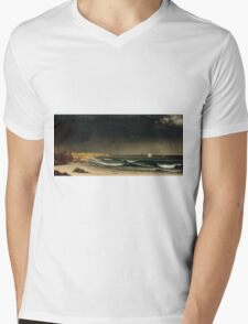 Martin Johnson Heade - Approaching Storm Beach Near Newport 1861. Sea landscape: sea view,  Storm, thunderstorm, sailing boat, severe, waves and beach, rain, seascape, sun clouds Mens V-Neck T-Shirt