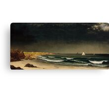 Martin Johnson Heade - Approaching Storm Beach Near Newport 1861. Sea landscape: sea view,  Storm, thunderstorm, sailing boat, severe, waves and beach, rain, seascape, sun clouds Canvas Print