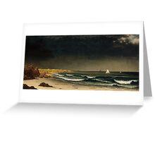 Martin Johnson Heade - Approaching Storm Beach Near Newport 1861. Sea landscape: sea view,  Storm, thunderstorm, sailing boat, severe, waves and beach, rain, seascape, sun clouds Greeting Card