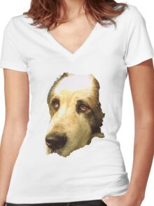 big sad dog Women's Fitted V-Neck T-Shirt
