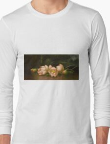 Martin Johnson Heade - Lotus Flowers A Landscape Painting In The Background. Still life with flowers: still life with flowers, flowers, hummingbird, nest, orchid,  lotus blossom, wonderful flower Long Sleeve T-Shirt