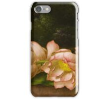 Martin Johnson Heade - Lotus Flowers A Landscape Painting In The Background. Still life with flowers: still life with flowers, flowers, hummingbird, nest, orchid,  lotus blossom, wonderful flower iPhone Case/Skin