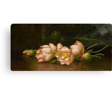 Martin Johnson Heade - Lotus Flowers A Landscape Painting In The Background. Still life with flowers: still life with flowers, flowers, hummingbird, nest, orchid,  lotus blossom, wonderful flower Canvas Print