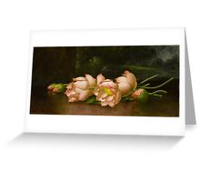 Martin Johnson Heade - Lotus Flowers A Landscape Painting In The Background. Still life with flowers: still life with flowers, flowers, hummingbird, nest, orchid,  lotus blossom, wonderful flower Greeting Card