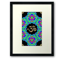 SACRED OM, Psychedelic Pattern, Ornament, Mandala, Design, Art, Flower, Fantasy, Magic, Geometry, Rainbow Framed Print