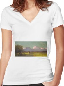 Martin Johnson Heade - Sunlight And Shadow The Newbury Marshesc 1871. Field landscape: field landscape, nature, village, garden, flowers, trees, sun, rustic, countryside, sky and clouds, summer Women's Fitted V-Neck T-Shirt