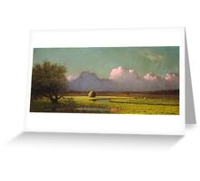 Martin Johnson Heade - Sunlight And Shadow The Newbury Marshesc 1871. Field landscape: field landscape, nature, village, garden, flowers, trees, sun, rustic, countryside, sky and clouds, summer Greeting Card