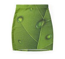 Drops On Green Leaf  Mini Skirt