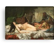 Marià Fortuny - The Odalisque1861. Woman portrait: sensual woman, Courtesans, dream, pretty women, sleep, beautiful dress, pearl, Venus, love, sexy lady, temptation Canvas Print