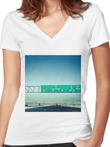 Road to Las Vegas Women's Fitted V-Neck T-Shirt