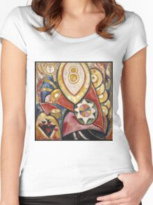 Marsden Hartley - Painting No. 48. Abstract painting: abstract art, geometric, expressionism, composition, lines, forms, creative fusion, spot, shape, illusion, fantasy future Women's Fitted Scoop T-Shirt