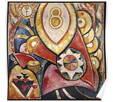 Marsden Hartley - Painting No. 48. Abstract painting: abstract art, geometric, expressionism, composition, lines, forms, creative fusion, spot, shape, illusion, fantasy future Poster