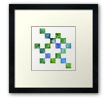 Watercolour Aqua Pixels Framed Print
