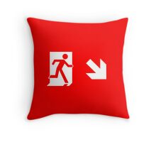 Running Man Emergency Exit Sign, Right Hand Diagonally Down Arrow Throw Pillow
