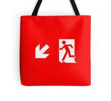 Running Man Emergency Exit Sign, Left Hand Diagonally Down Arrow Tote Bag