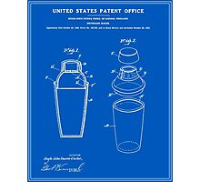 Cocktail Shaker Patent - Blueprint Photographic Print