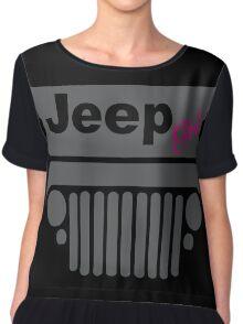 Jeep Girl Gray Chiffon Top
