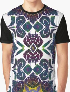 Psychedelic Fractal Manipulation Pattern on White Graphic T-Shirt