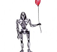 Cylon Centurion with Red Balloon by 2dollarsidekick