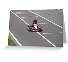young Go-Carting  Racer finish Greeting Card