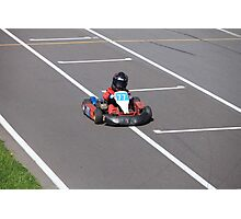 young Go-Carting  Racer finish Photographic Print
