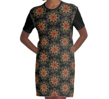 Golden Flower Graphic T-Shirt Dress