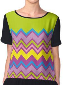 Chevron Bright Green Yellow Blue Purple Zigzag Pattern Chiffon Top