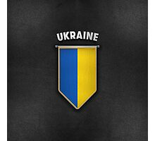 Ukraine Pennant with high quality leather look Photographic Print