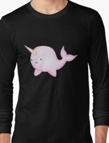 Cute Pink Narwhal  Long Sleeve T-Shirt