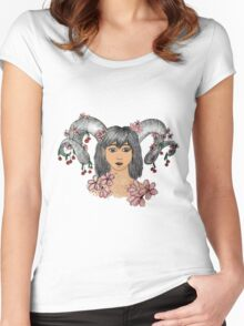 Horns and cherries Women's Fitted Scoop T-Shirt