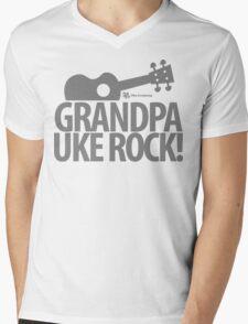 Grandpa Uke Rock Mens V-Neck T-Shirt