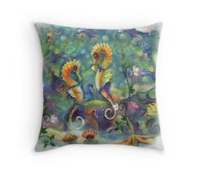 Paired for life, Seahorse Art Throw Pillow