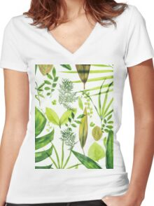 Foliage Women's Fitted V-Neck T-Shirt