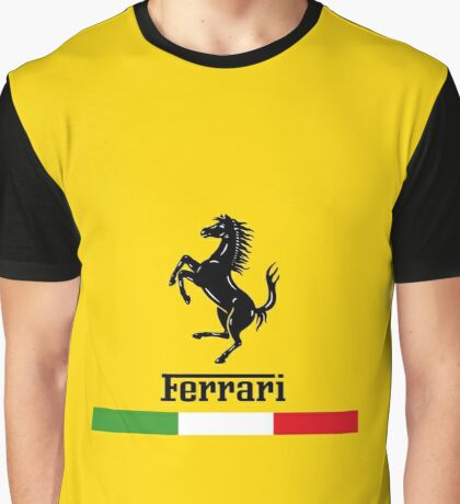 Ferrari Logo with Italian Flag Graphic T-Shirt