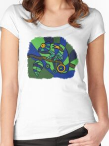 Hand-Drawn-Style PopArt Chameleon Women's Fitted Scoop T-Shirt