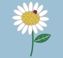 Whimsical Summer White Daisy and Red Ladybug Kids Tee