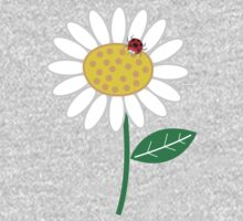 Whimsical Summer White Daisy and Red Ladybug One Piece - Long Sleeve