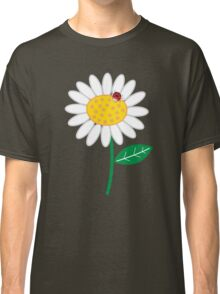 Whimsical Summer White Daisy and Red Ladybug Classic T-Shirt