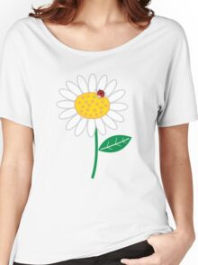 Whimsical Summer White Daisy and Red Ladybug Women's Relaxed Fit T-Shirt