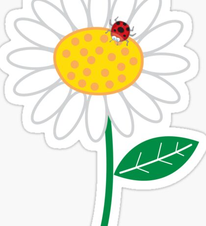 Whimsical Summer White Daisy and Red Ladybug Sticker